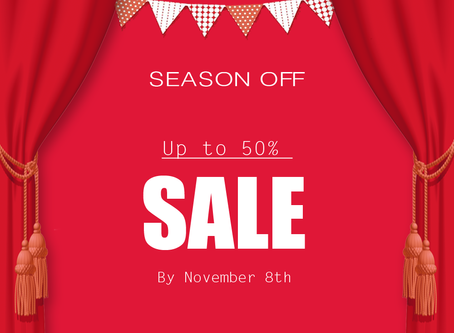SEASON OFF!! Up to 50%