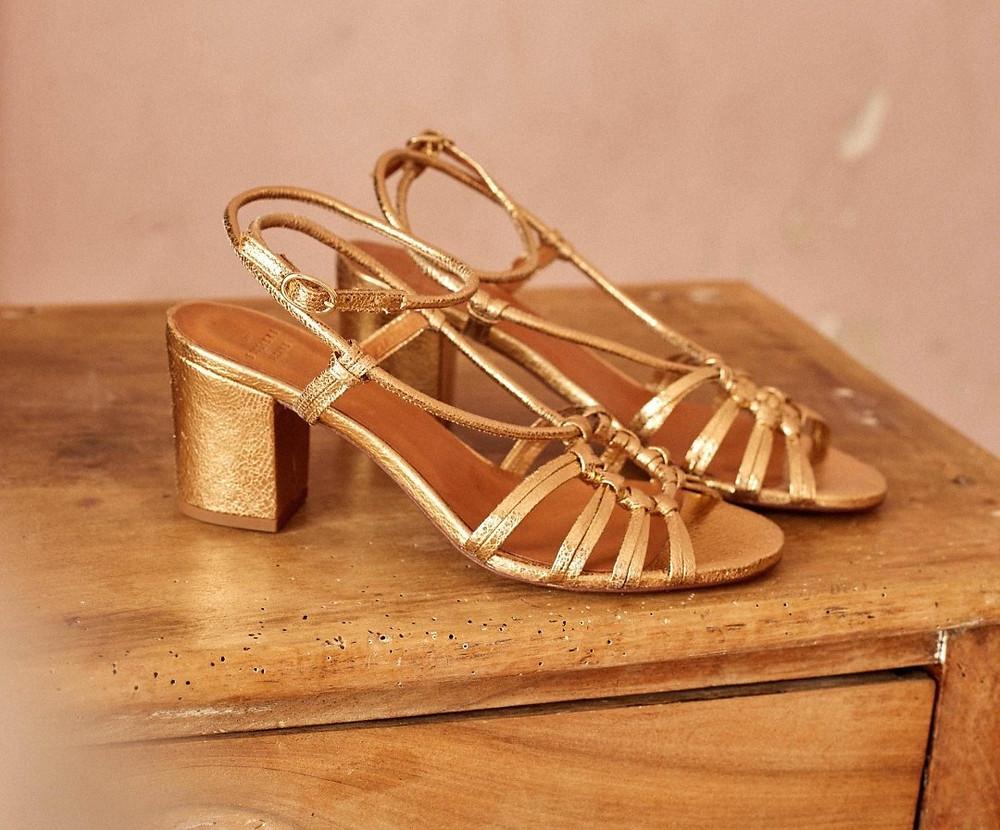 sandales vintage dorees
