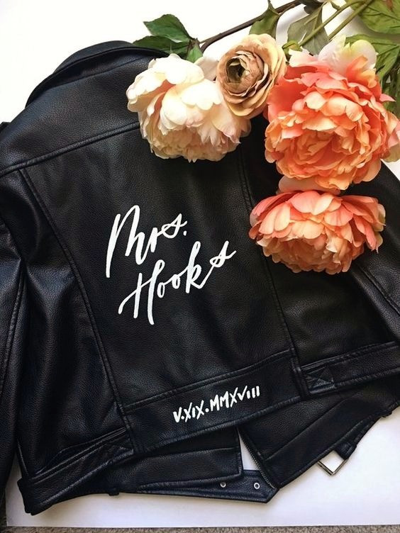 veste en cuir customisée mariage