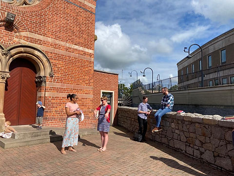 People outside Riverside Church