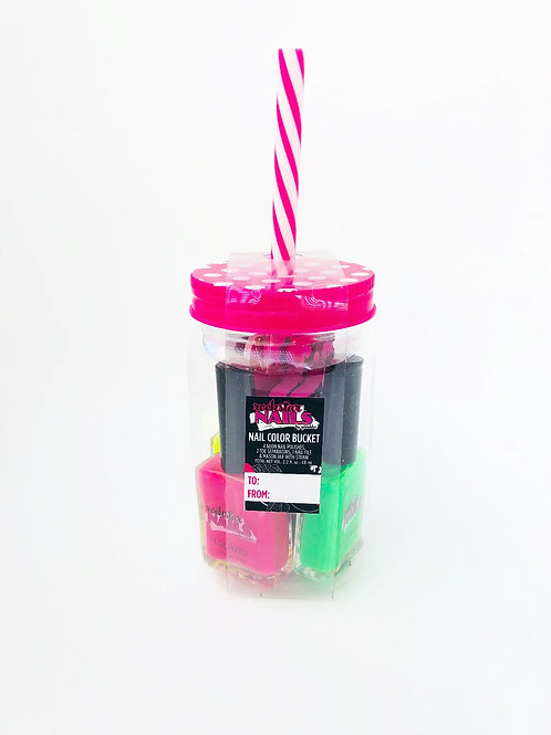Nail Bucket with Straw