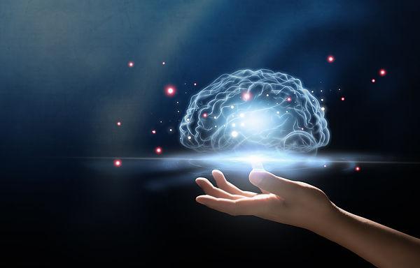 human hand holding brain, Artificial Int