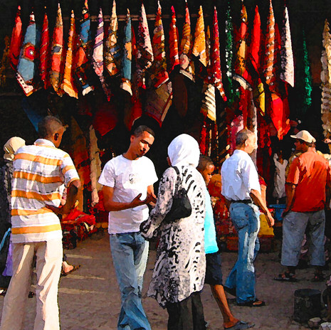 Scarves for Sale, Jemaa Al Fnaa, Morocco