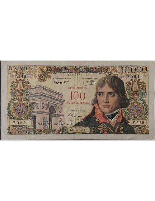 RARE 10000 FRANCS BONAPARTE SURCHARGÉ 30-10-1958