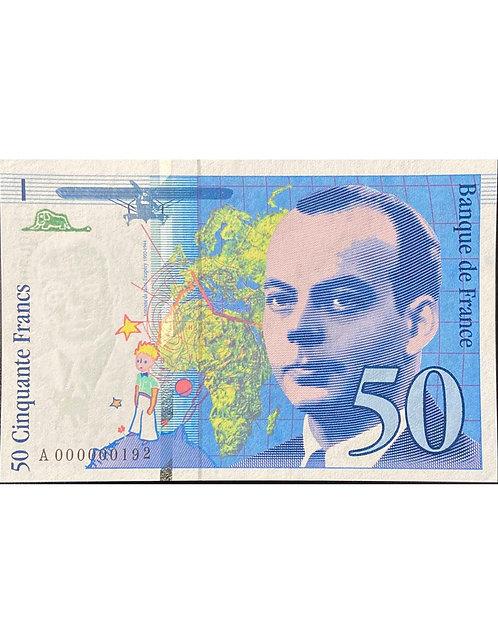 RARE 50 FRANCS SAINT EXUPÉRY PETIT NUMÉRO