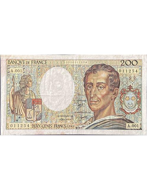 200 FRANCS  MONTESQUIEU 1981 1ERE DATE A001
