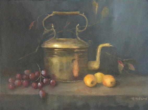 Brass Kettle & Fruit