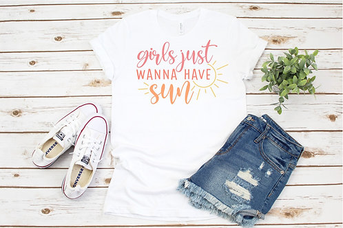Girls Just Wanna Have Sun Printed Crew Tee