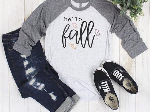 Hello Fall with Leaves Printed Raglan