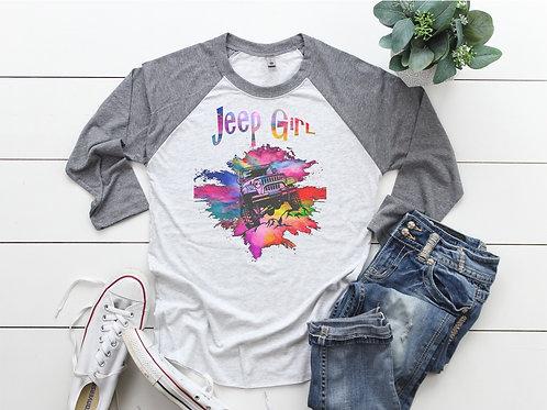 Jeep Girl Printed Raglan