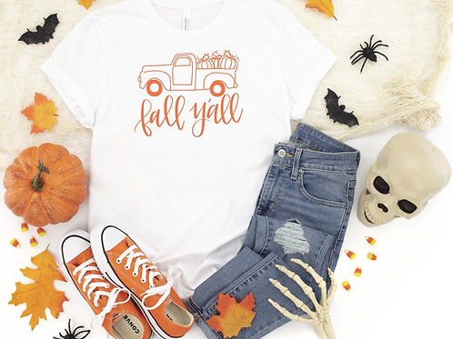 Happy Fall Y'all Printed White Tee
