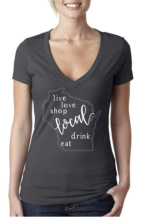 Shop Local Wisconsin Ladies Charcoal V-Neck Tee