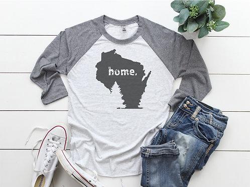 Home Wisconsin Printed Raglan