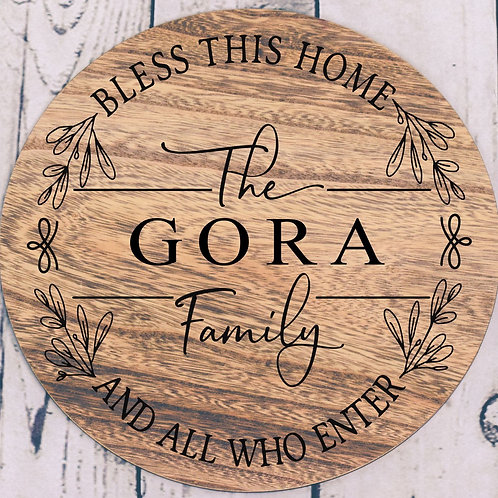 Bless This Home Personalized Est. Round Sign