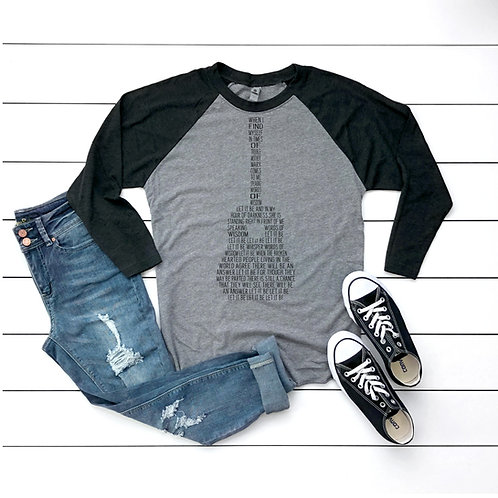 Let it Be Lyrics in Guitar Printed Raglan