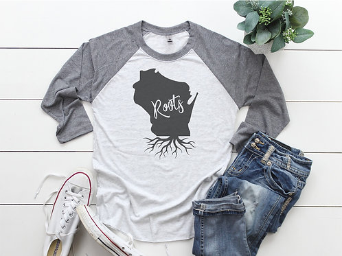 Wisconsin Roots Printed Raglan
