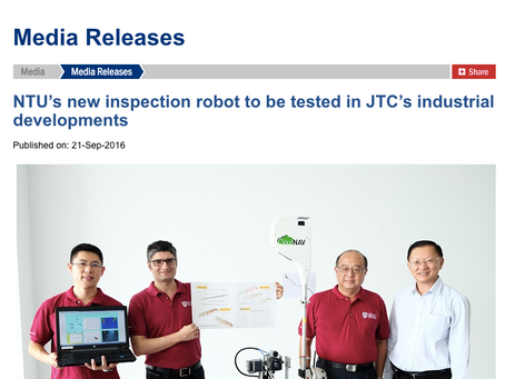 NTU's new inspection robot to be tested in JTC's industrial developments