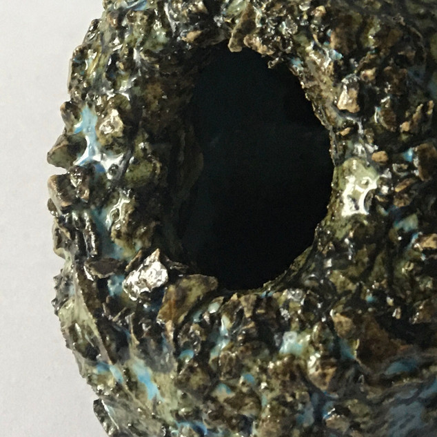 detail of textured pinch pot 'pebble vessel'