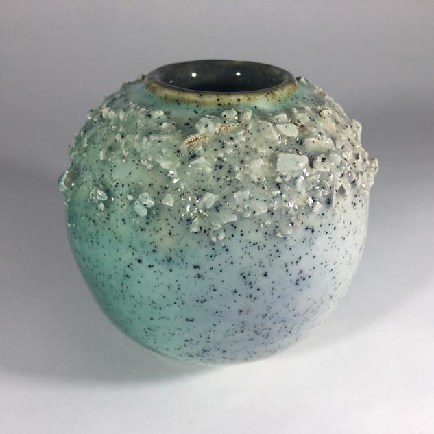 earthernware small textured moon jar