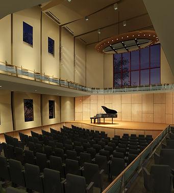 Modern recital hall, balcony, acoustic reflector
