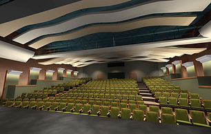 Theater interior design, acousti panels, lighting, theate seating