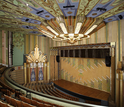 Martin Woldson Theater at the Fox, art deco theater. art deco lighting, decorative fire curtain,