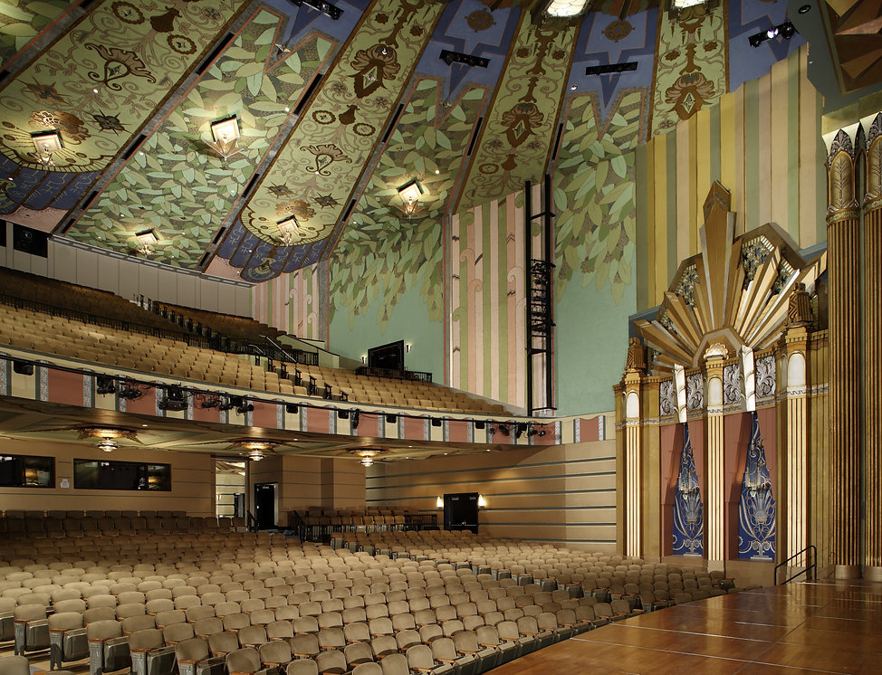 Martin Woldson Theater at the Fox, Spokane, WA, Historic theater Interior, Stag Lighting, Theater architectural lighting, Historic reproduction seats