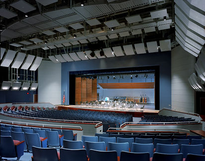 Wilton HS PAC, large stage, pit lift, flying acoustic panels, catwalks, stage lighting, reversable torm panels
