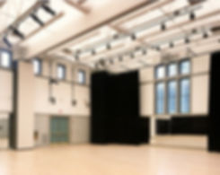 Cedar Street Dance studio, divisable studio, stage drapery, stage lighting