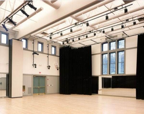 Cedar Street Dance studio, divisable studio, stage drapery, stage lighting