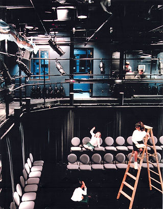 Chapin School Theater Lab, black box theaters, stack chairs, tech balcony, lighting grid