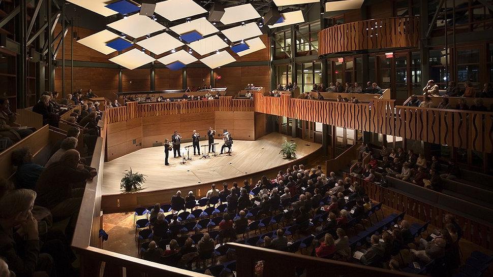 Katherine Elfers Hall/The hotchkiss School, music performance, acoustic reflectors, concert halls, side balconies
