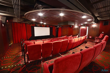 Cinema seating, movie screen setting, cinema interior design