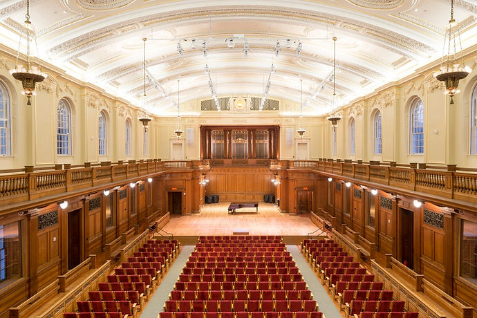 acoustic shell, historic repro seats, lighting, flexible stage