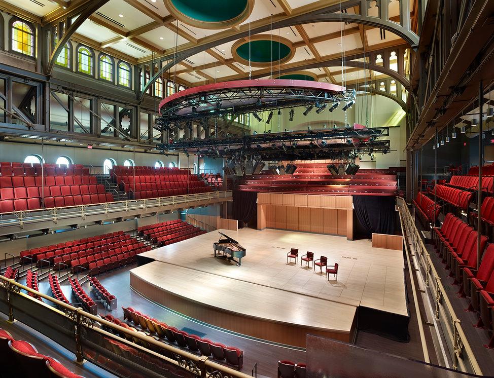 Baptist Temple/Temple U., Pit Lift, modular stage, rigged grid, stage lighting