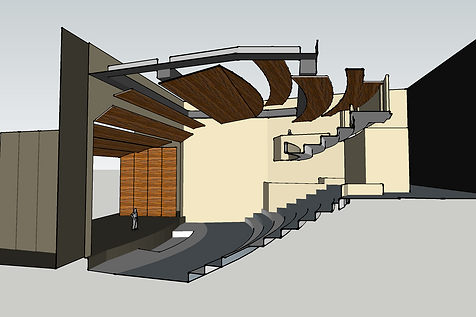 3D model thru theater section, acoustic reflectors, seatingrake, stage