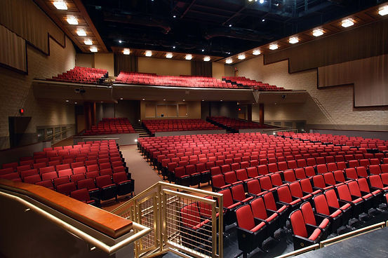 Watchung Hills Regional HS Auditorium, seating array, house lighting, acoustic drapery, balcony