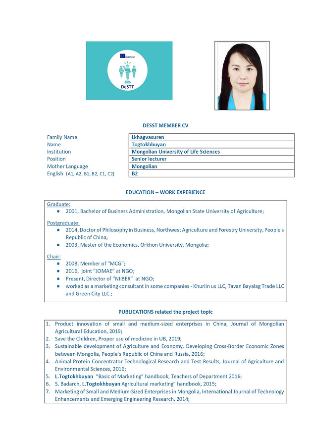 CV_DESTT_Mongolian University of Life Sc