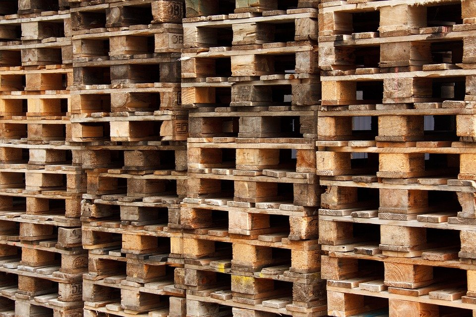 Pallets stacked on top of each other.