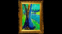 Trees Breaking Light OIl Pastel 23