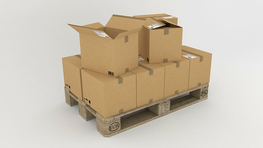 Pallet with boxes.