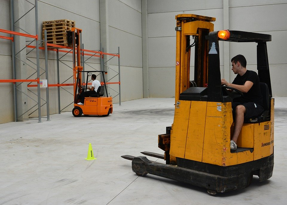 Forklifting the pallets