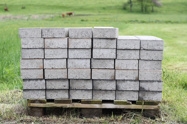 Concrete stacked on a wooden pallet