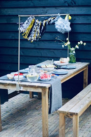 Garden table and chairs made of recycled wood pallets