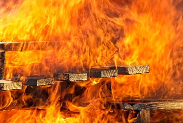 Wooden pallets on fire.