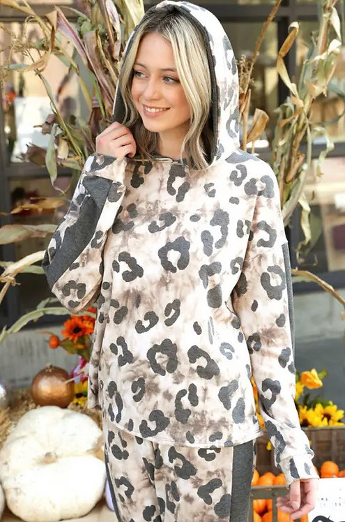 Animal Printed French Terry Hooded Loungewear Set