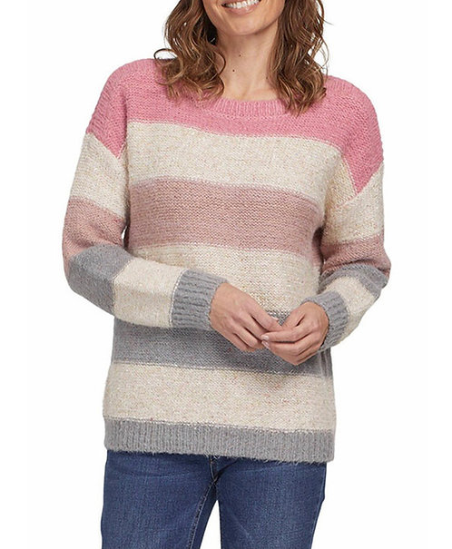 Tribal Boat Neck Sweater with Gold Flecks