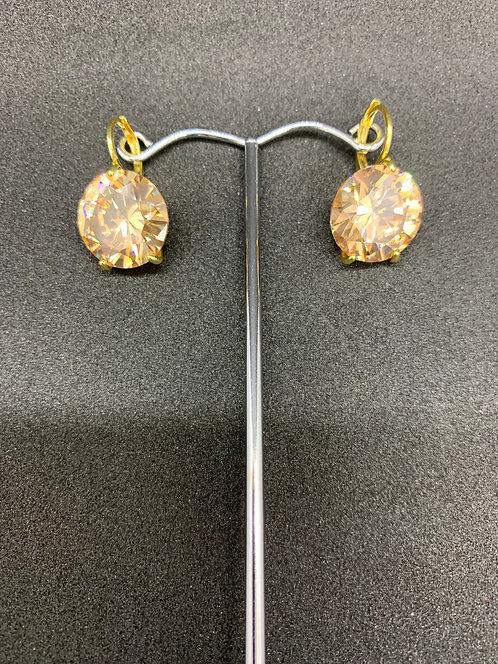 Swarovski Crystal Earrings Gold/Amber Large