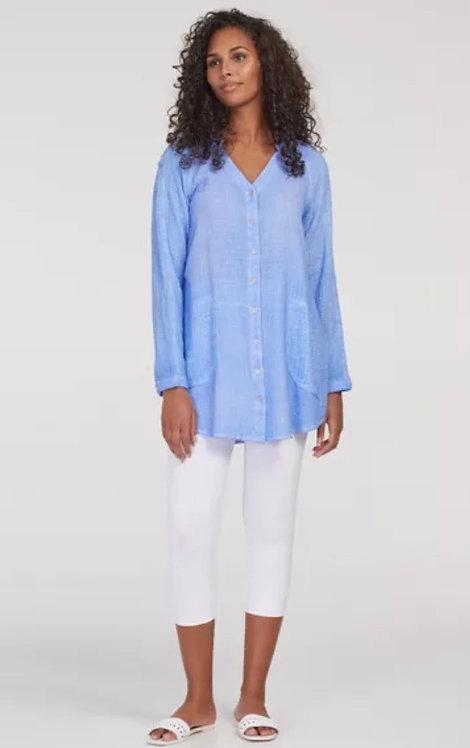 Tribal Collarless Button Down Shirt Dress