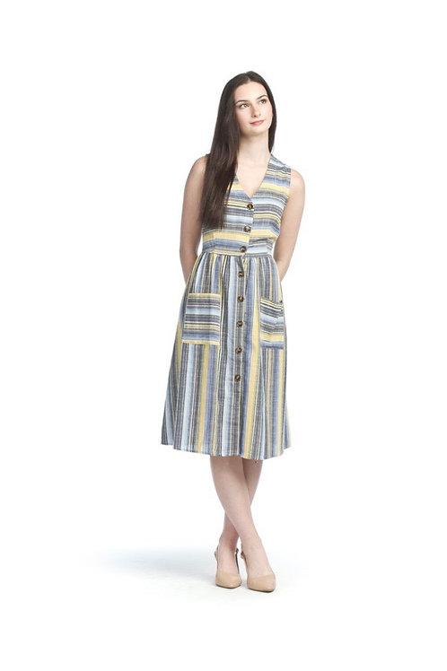 Papillon Button Front Sleeveless Dress